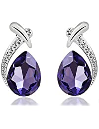 Silver Shoppee Water Droplet Rhodium Plated Crystal and Cubic Zirconia Studded Alloy Earrings for Girls and Women