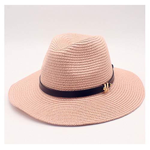 YUWEN 2019 Mode Herren Damen Stroh Sonnenhut mit Leder Brief Metall dekorative Jazz Hut Unisex Strand Sonnenschutz breiter Krempe Panama Hut (Farbe : Rosa, Größe : 56-58CM) -