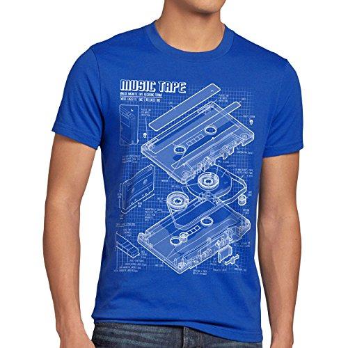 style3 Tape Cianotipo Camiseta para Hombre T-Shirt DJ Turntable 3D MC, Talla:S, Color:Azul