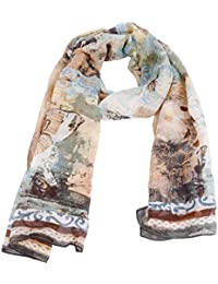 Womens Summer Retro Butterfly Floral Print Neck Wrap Shawl Scarf Scarves