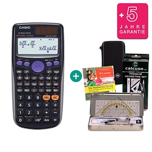 Streberpaket: Casio FX-85ES Plus + Schutztasche + Lern-CD (auf Deutsch) + Geometrie-Set + Erweiterte Garantie