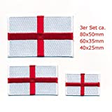 3 England London Birmingham GB Europa Flaggen Flag Patch Aufnäher Aufbügler 1064