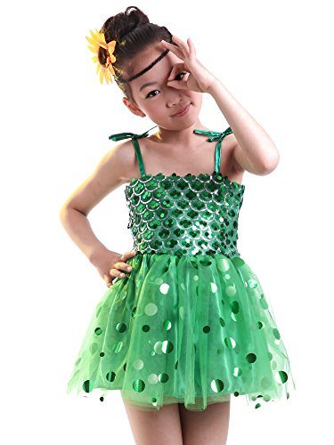 hen Jazz Moderne Tanz kostüm Performance Kleid Dancewear Tütü Röcke Tanzkleid Partykleid, Grün, EU L=Tag XL (Modern Jazz Kostüme)