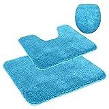 Fashionpillow WC - und Badezimmer Vorleger - Set/Mikrofaser Toiletten- und Badvorleger, 3-teiliges Set, Bodenmatte MIT Ausschnitt, für Stand-WC, in der Farbe türkis