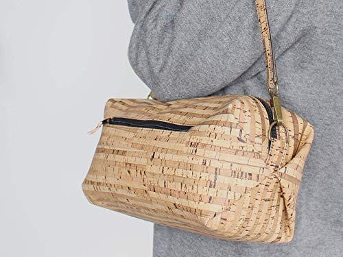 Kork Handtasche, Umhängetasche, vegan, schwarze Schultertasche, Geschenk, - 2