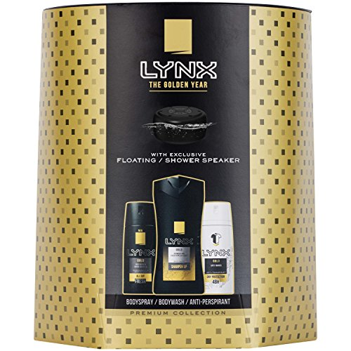 Lynx Gold Triowith Shower Speaker Body Wash, Spray and Anti-Perspirant 4 Piece Gift Set