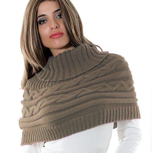 Coprispalle donna cappa collo sciarpa bolero tricot dolcevita poncho AS-0430 Fango
