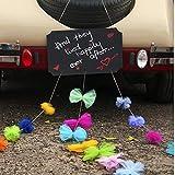 Tafel + Girlanden Kit Auto Schmuck Braut Paar Rose Deko Dekoration Autoschmuck Hochzeit Car Auto Wedding Deko PKW