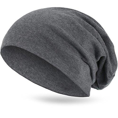 style3 Warme Übergangs Slouch Beanie XXL aus atmungsaktivem, feinem und wärmendem Jersey Unisex Herbst Winter-mütze, Farbe:Grau