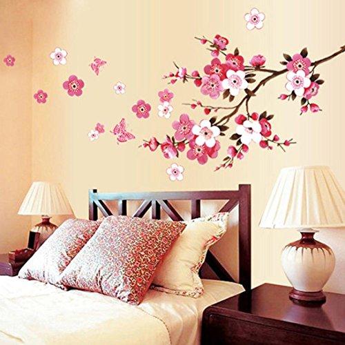 Chshe - adesivo da parete con motivo di fiori di pesco e farfalla, adesivo da parete rimovibile per decorare soggiorno, camera da letto, sfondo della parete tv