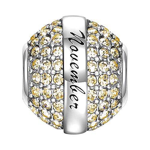 Soufeel November Geburtsstein Damen Charm Bead Anhänger 925 Sterling Silber - Ring, Geburtsstein Charms Halskette,