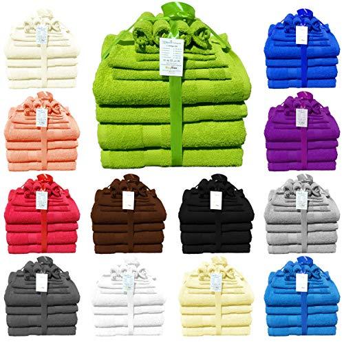 Buymax 12-teilig Handtuch-Set aus 100% Baumwolle 2 Duschtücher 2 Handtücher 2 Gästetücher 4 Waschhandschuhe 2 Seittücher 480 g/qm, Apfelgrün - Grüne Waschlappen