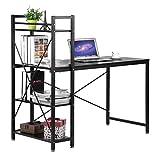 Homgrace Industriedesign Schreibtisch Computerschreibtisch Bücherregal Eckschreibtisch Winkelkombination Computertisch Laptoptisch mit Regal, 121 x 60 x 120cm (L x B x H), Schwarz