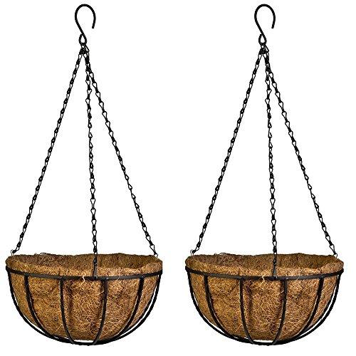 AZX Braun Kokosfaser Hängekorb Garten Übertopf Blumen Aufhänger Halter mit Coco Liner und Kette