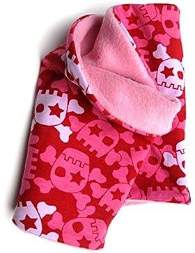 Woll pollo interno collo panno, motivo floreale rosso/rosa con teschi ridicolizzate per bambine, interno in pile...