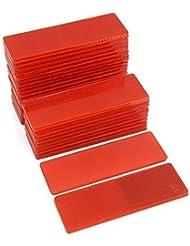 DealMux plástico reflectante de advertencia del rectángulo reflector de seguridad del vehículo Placas de Red 30 piezas