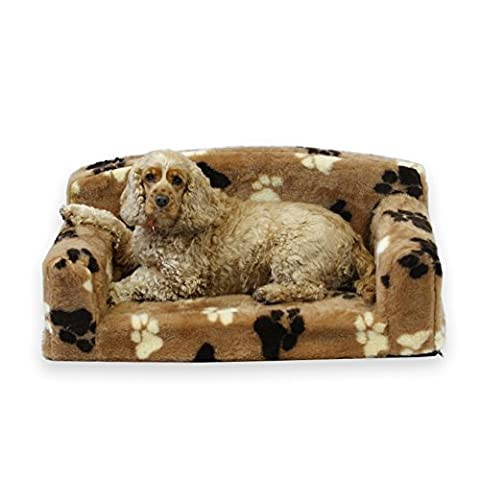 Fur Paws – Faux Fur Pet Sofa. Nice Pet Settee. Very Soft Dog bed. Removable cover for animal Couch. Inner material is high grade foam. UK MANUFACTURER (Brown with paws, Small 82 x 46 x 34cm)