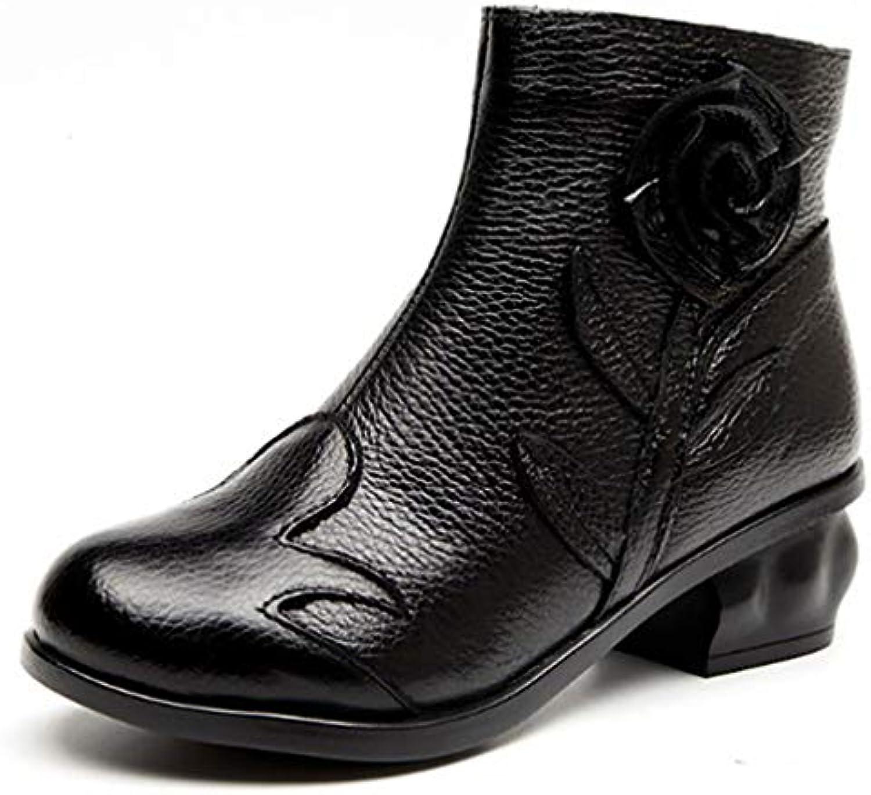 ac36de0bd42c62 y-h des chaussures de femme automne / hiver hiver hiver de nouvelles bottes  en cuir / mesdames rétro fleurs bottines / épais talon taille / martins ...