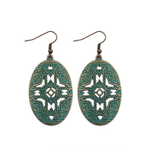 DULEE 2 Para Frauen und Mädchen Bohemia Resto Ethnische Ohrringe Fransen Drop Haken Ohrringe, Bronze