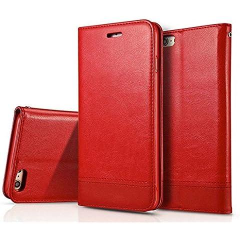 Custodia iPhone 7 Cover iPhone 7 - Dfly Custodia In Pelle Con Invisibile Forte Inarcamento (Invisibile Opaco)