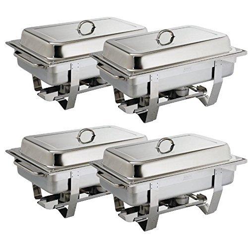 Profi Chafing Dish 4er Set Edelstahl Wasserbehälter, Speisenbehälter, Deckel und je 2 Brennpastenbehälter