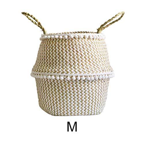 Funihut Seegras Korb geflochten Aufbewahrungskorb mit Griffen Natürliche Runde Handweberei Faltbare Spielzeug Ablagekorb und Wäschekorb