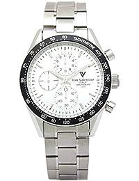 izax Valentino reloj cronógrafo de acero inoxidable bisel negro ivg-8000 ...