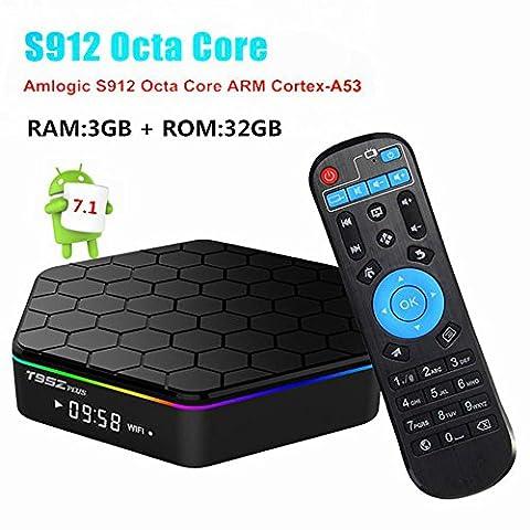 TV Box,t95z plus Android 7.1 TV Box mit S912 Octa-Core CPU / 3GB RAM + 32GB eMMC / 1000M LAN /2 .4G + 5.8G Dual Wifi / Bluetooth 4.0 smart TV Box unterstützt 1080p / 4K (Wireless Fernbed