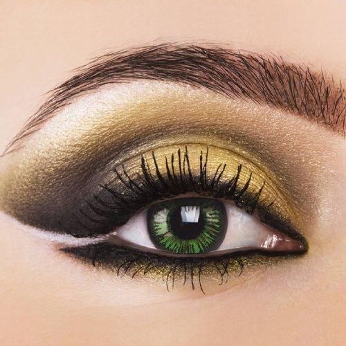 Farbige crazy Kontaktlinsen Big Eyes LUSTROUS GREEN, grüne Kontaktlinsen & Color Contact lenses 1 Paar (2 Stück) Big Eyes. ohne Stärke.