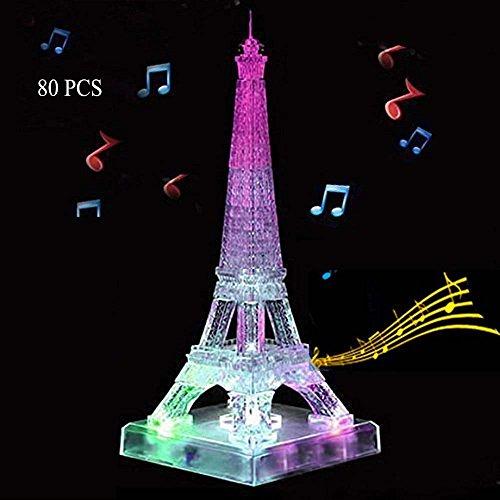WAYCOM 3D Crystal Flash Music Eiffel Tower Jigsaw Puzzle 80pcs