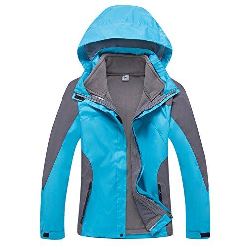 SHAMEI Femme 3 en 1 Coupe-Vent Capuche Imperméable Respirant Manteau Outdoor Sport Veste de Camping Randonnée Escalade (XX-Large, Bleu)