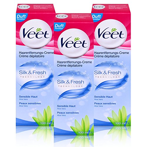 3x Veet Haarentfernungs-Creme Silk & Fresh Sensible Haut 100ml