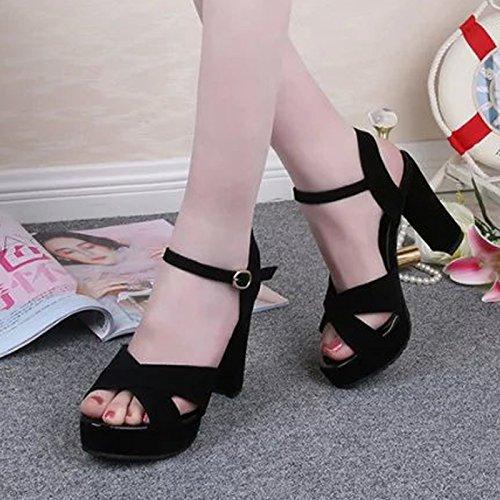 Lgk & fa sandali da donna estate MS. Xia sandali super high color impermeabile scrivania sandali Black