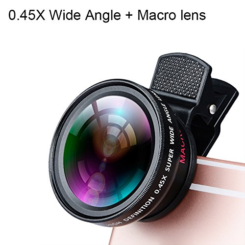 iBubble 0.45X Professional (Crafted with aluminum alloy) HD Camera Lens Kit 2 in 1 Wide Angle Lens Clip On Phone Lens for iPhone or Android (Assorted Color)