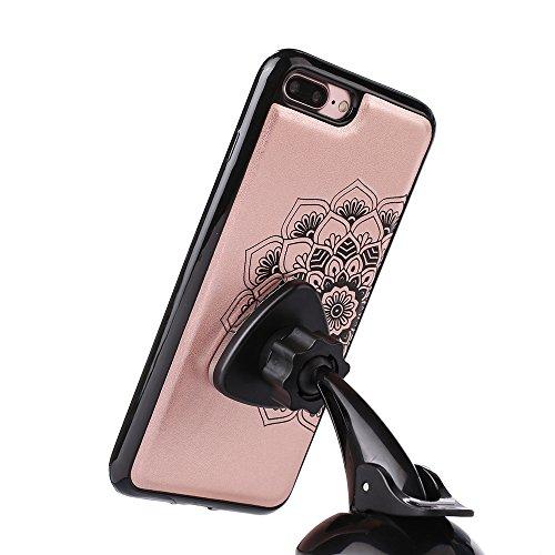 """iPhone 7 Plus Lederhülle YOKIRIN Wallet Case für iPhone 7 Plus (5.5"""") Schutzhülle Abtrennbar Hälfte Totem Blumen Handyhülle Amphibisch PU Leder Flipcase Brieftasche TPU Innenschale Bookcase Folio Hand Rose Gold"""