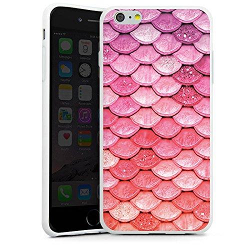 Apple iPhone 6 Plus Silikon Hülle Case Schutzhülle Regenbogen Schuppen Meerjungfrau Silikon Case weiß