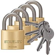 Stanley S742-038 - Pack de 4 candados macizos de con arco estándar, 5 llaves (latón, 40 mm)