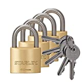 STANLEY Solid Brass Vorhangschloss 40 mm mit Standard-Bügel, 4er Pack, gleichschließend, 5 Schlüssel,S742-038, Schloss, Bügelschloss