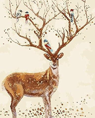 Handgemalte moderne abstrakte Tier Leinwand Ölgemälde, große Wand Sika Hirsche
