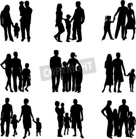 """Leinwand-Bild 30 x 30 cm: """"Silhouette of parents and children """", Bild auf Leinwand"""