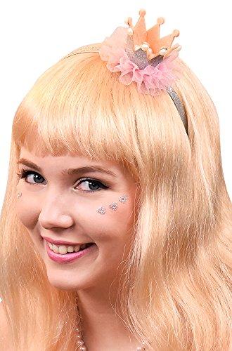 Silberner Glitzerhaarreif mit Krönchen, Perlen und rosa Rüschen - Süßes Accessoire zum Kostüm als Prinzessin oder Ballerina zu Fasching, Junggesellenabschied und Mottoparty
