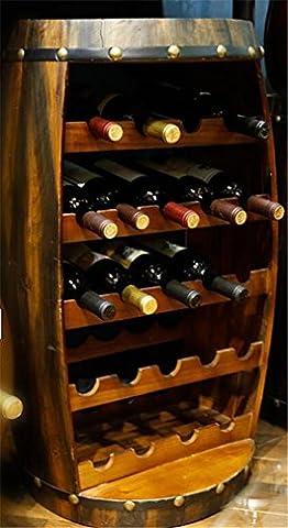 YANFEI Casier à vin Table ronde en bois de vin de forme de baril Étagères classiques européennes d'affichage de style tient 23 bouteilles de votre vin préféré