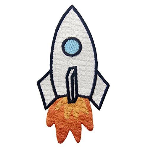 Toppa ricamata da applicare con ferro da stiro o cucitura, tema: Razzo Space Shuttle