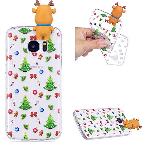 ZCXG Galaxy S7 Handyhülle,Hülle Silikon Transparent Motiv 3D Weihnachtsthema Madam Weihnachtsgeschenke Kinder Geschenk Frauen Handyhülle für Samsung Galaxy S7 - Weihnachtsgeschenk