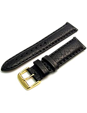 Napoli schwere Luxus Gesteppt Gepolstert echtem Leder Uhrenarmband 18mm Breite Schwarz mit Vergoldet (Gold Farbe...