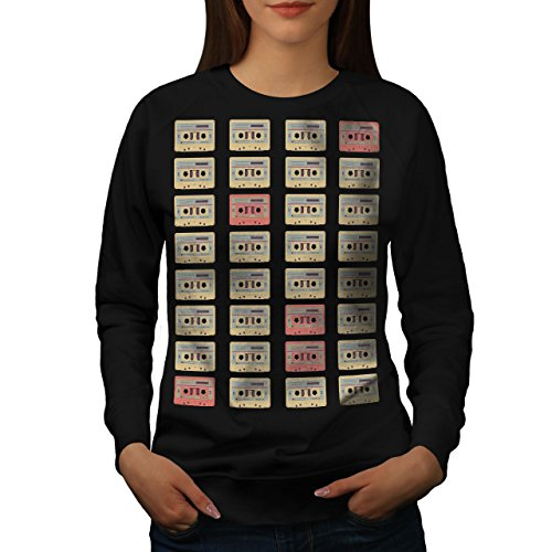 Ruban Cassette rétro La musique Femme S-2XL Sweat-shirt   Wellcoda Noir