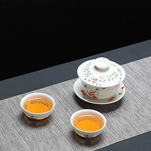 CUPWENH Exquisite Blau-Weiße Keramik Gaiwan Tee-Set 1 Pot 2Cup Unvergleichliche GAI Wan Tee Tasse Porzellan Chinesischen Kung Fu Tee-Set Für Geschenk Und Haushalts Büro