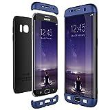 CE-Link für Samsung Galaxy S7 Edge Hülle Hardcase 3 in 1 Handyhülle 360 Grad Full Body Schutz Schutzhülle Anti-Kratzer Bumper - Blau + Schwarz