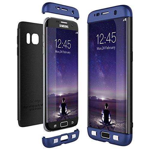 CE-Link Cover per Samsung Galaxy S7 Edge 360 Gradi Full Body Protezione, Custodia S7 Edge Silicone 3 in 1 Antishock e Antiurto, Samsung S7 Edge Case - Blu + Nero