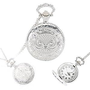 hrph Vintage Steampunk Legierung Eule Taschenuhr Medaillon Anhänger Halskette Kette schlüsselanhänger Uhr Geschenke